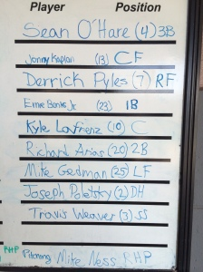 The last Bears lineup at Riverfront. With ace Mike Ness on the mound, this group beat Trois Riveres 5-4 on Aug. 30, 2013.
