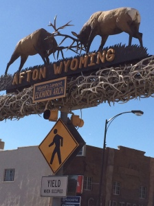 "The ""world's largest elkhorn arch"" atop the main street in Afton, Wyoming."