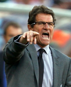 England's coach Capello shouts during a 2010 World Cup second round soccer match against Germany at Free State stadium in Bloemfontein