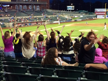 Doin' the YMCA at a Somerset Patriots game