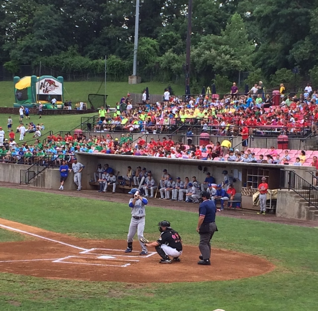 Their bright colored t-shirts makes it easy to spot the campers watching the New Jersey Jackals at Yogi Berra Stadium