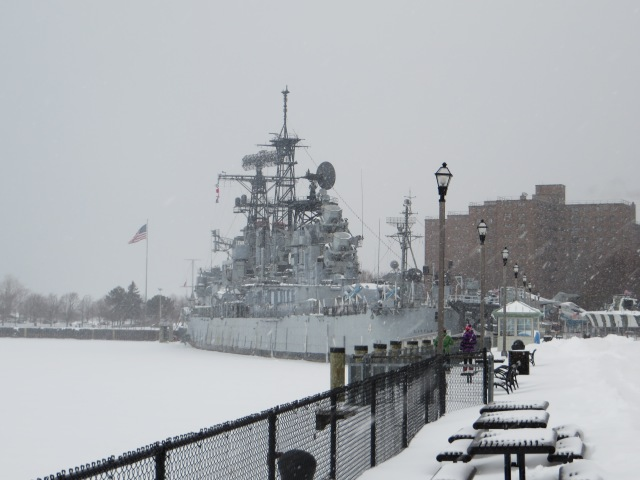 Battleship docked near the Maritim Museum at the Erie Bayfront