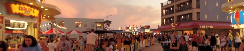 Wildwood boardwalk at sumset