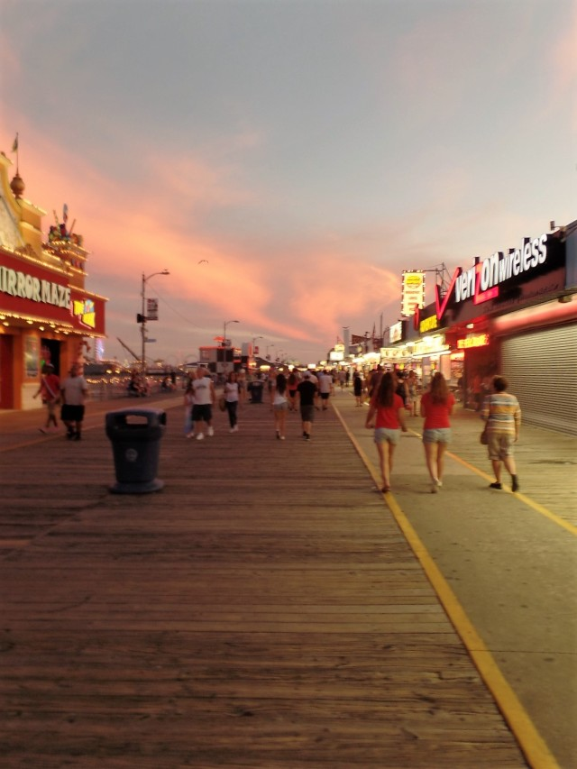 A boardwalk sunset