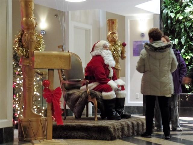 Santa in the hotel lobby