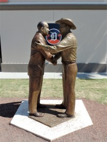Statue outside Joker Marchand Stadium