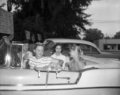 Teenagers at the drive in