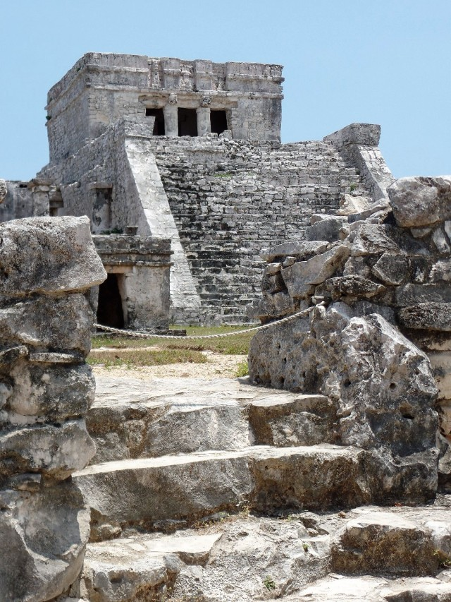 High point of Mayan ruins.