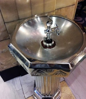 silver water fountain