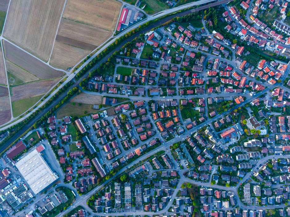 drone image of suburb