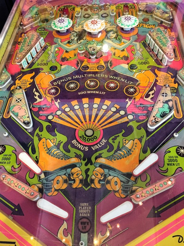 Wide-body pinball machine at Silverball Museum