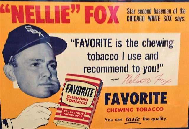 Nellie Fox endorses chewing tobacco