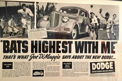 Joe DiMaggio car ad