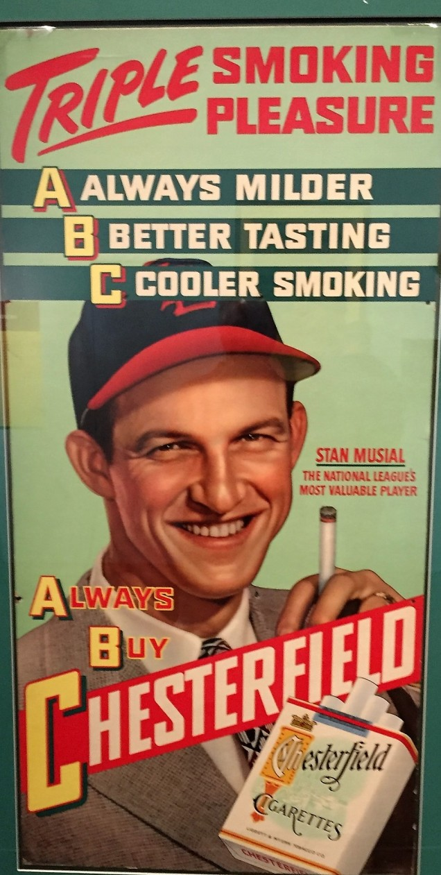 Stan Musial smokes Chestgerfield