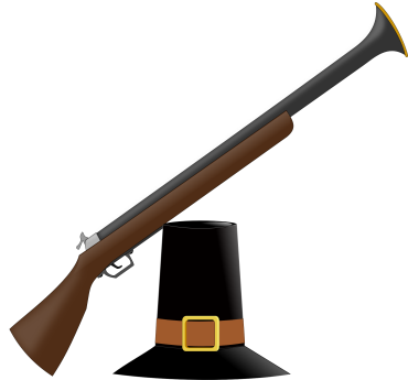 colonial musket and hat