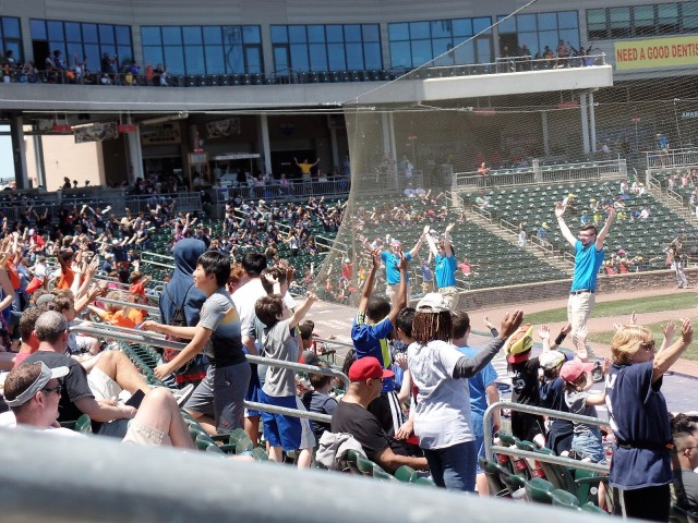 Rockland Boulders fans do the YMCA