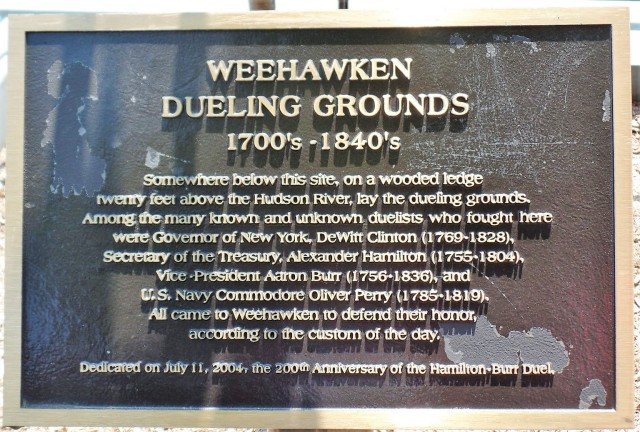 Plaque at Weehawken Dueling Grounds
