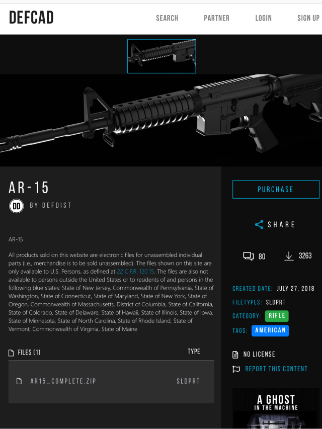 add to sell specs for 3-D printed rifle