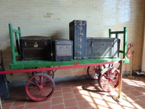 Railroad passenger luggage.