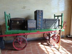 Railroad passenger luggage.