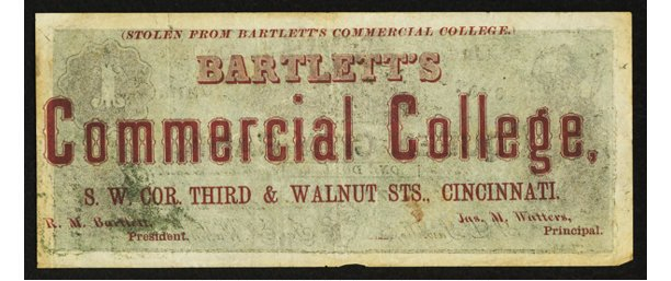 Bartlett's Commercial College currency
