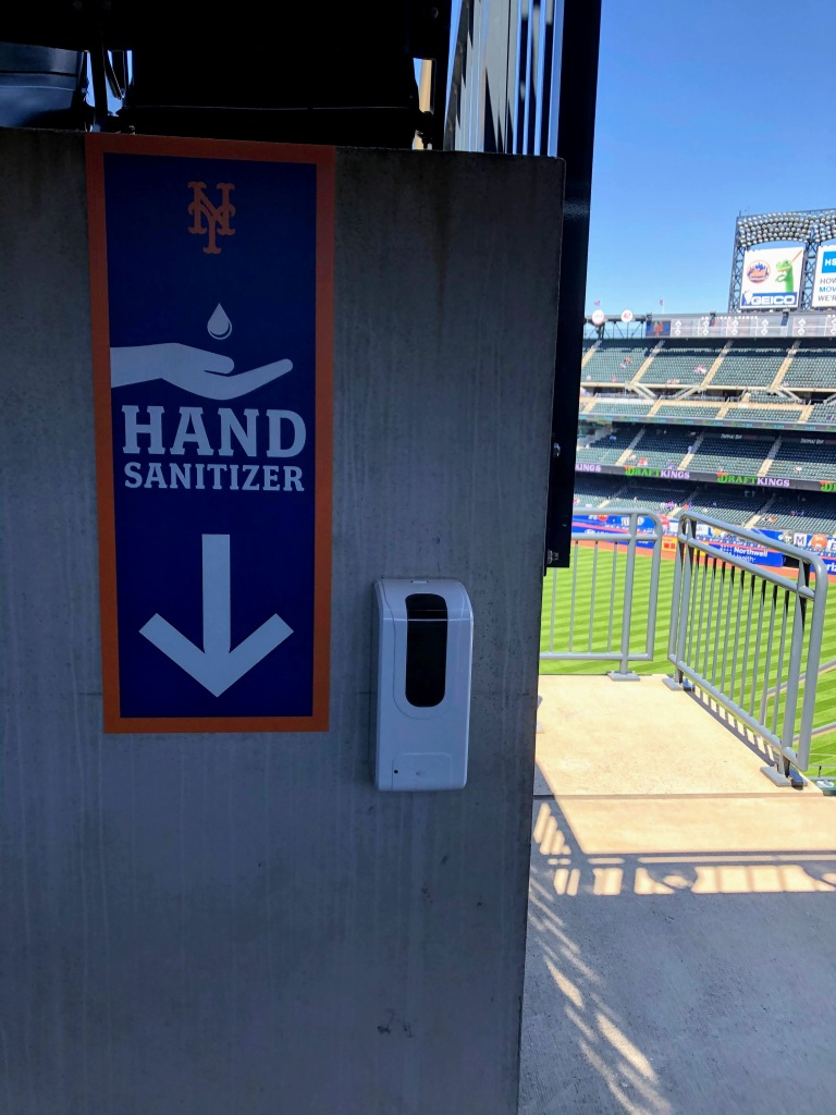 Hand sanitizer at Citi Field